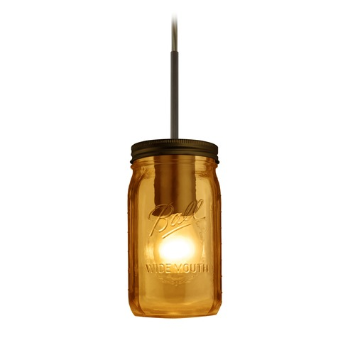 Besa Lighting Canning Jar Light Mini-Pendant Amber Glass Bronze 1JT-MILO4AM-BR