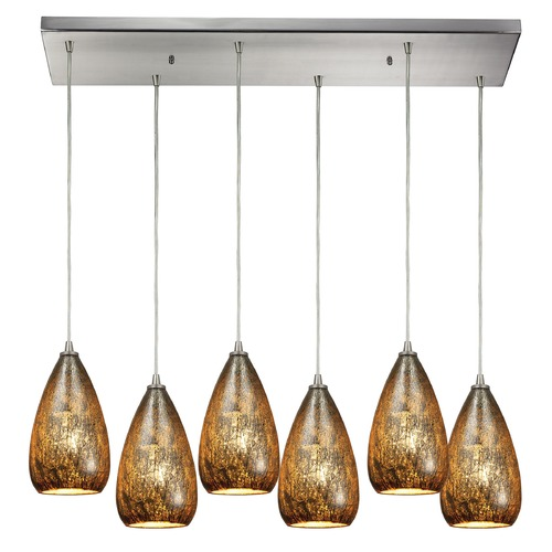 Elk Lighting Elk Lighting Karma Satin Nickel Multi-Light Pendant with Bowl / Dome Shade 10254/6RC