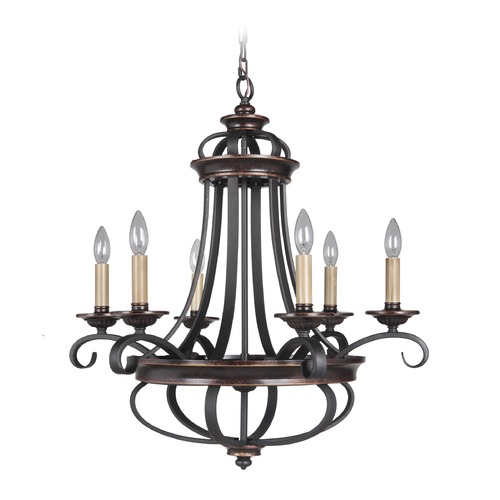 Jeremiah Lighting Jeremiah Lighting Stafford Aged Bronze/textured Black Chandelier 38726-AGTB