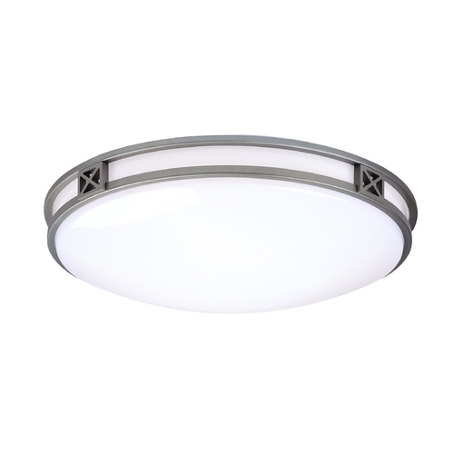 Philips Lighting Modern Flushmount Light with White Glass in Glacier Silver Finish F206112U