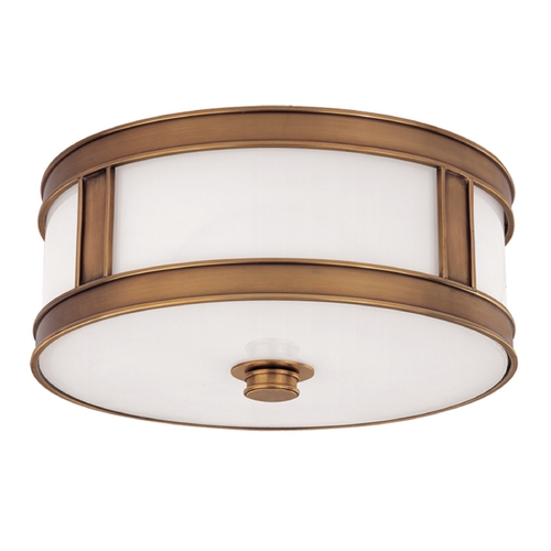 Hudson Valley Lighting Flushmount Light with White Glass in Aged Brass Finish 5516-AGB