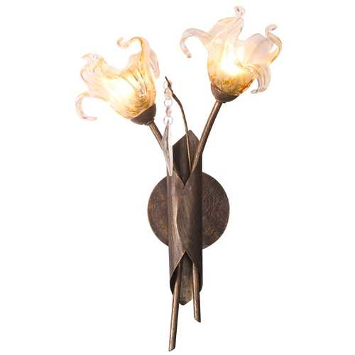 ET2 Lighting Modern Sconce Wall Light with Amber Glass in Antique Bronze Finish E22067-26