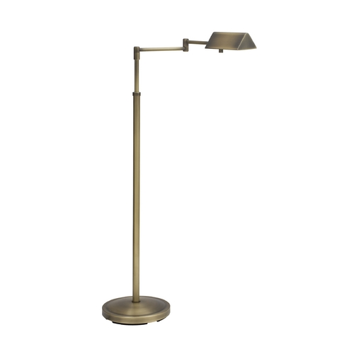 House of Troy Lighting Swing Arm Pharmacy Floor Lamp in Antique Brass Finish PIN400-AB