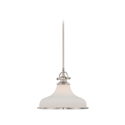 Quoizel Lighting Modern Pendant Light with White Glass in Imperial Silver Finish GRT2814IS