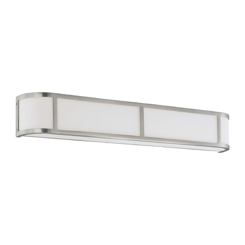 Nuvo Lighting Bathroom Light with White Glass in Brushed Nickel Finish 60/2875