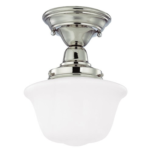 Design Classics Lighting 8-Inch Schoolhouse Semi-Flushmount Ceiling Light in Nickel Finish FBS-15 / GD8