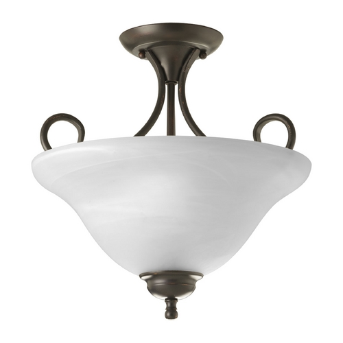 Progress Lighting Progress Bronze Semi-Flushmount Ceiling Light with Alabaster Glass P3460-20
