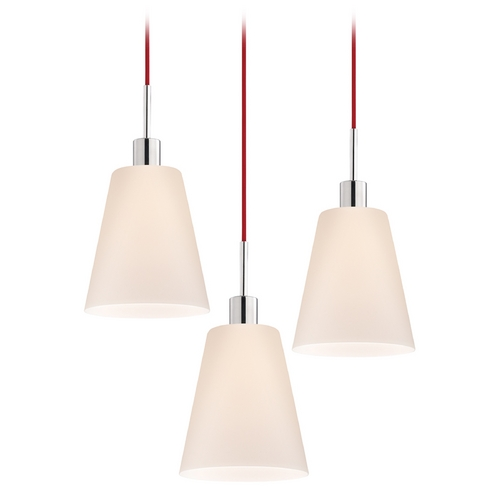 Sonneman Lighting Modern Multi-Light Pendant Light with White Glass and 3-Lights 3562.01R-3