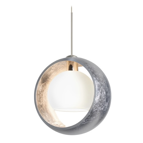 Besa Lighting Besa Lighting Pogo Satin Nickel Pendant Light with Globe Shade 1XT-4293SS-SN