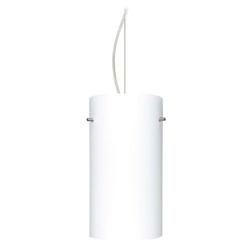 Besa Lighting Besa Lighting Tondo Satin Nickel LED Pendant Light with Cylindrical Shade 1KX-412007-LED-SN