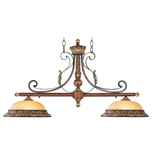 Livex Lighting Livex Lighting Villa Verona Bronze with Aged Gold Leaf Accents Island Light with Bowl / Dome Shade 8582-63