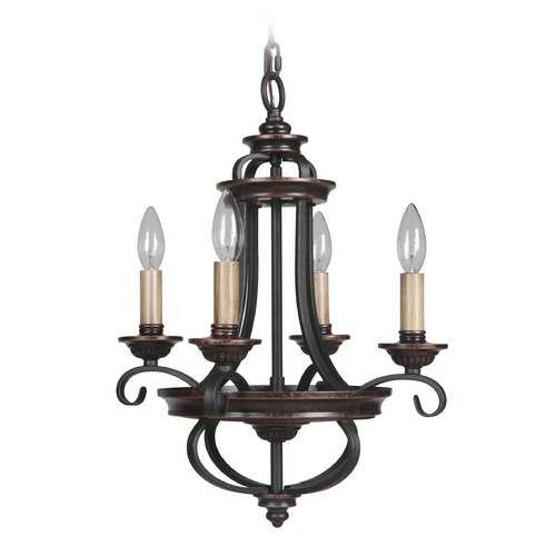 Jeremiah Lighting Jeremiah Lighting Stafford Aged Bronze/textured Black Mini-Chandelier 38724-AGTB