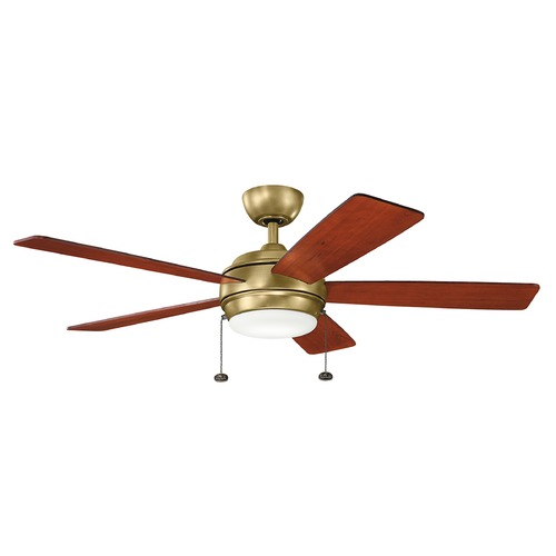 Kichler Lighting Kichler Lighting Starkk Natural Brass LED Ceiling Fan with Light 330174NBR