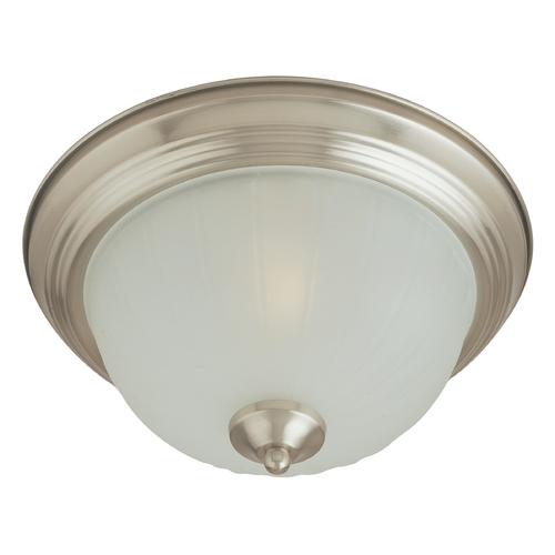 Maxim Lighting Flushmount Light with White Glass in Satin Nickel Finish 5830FTSN