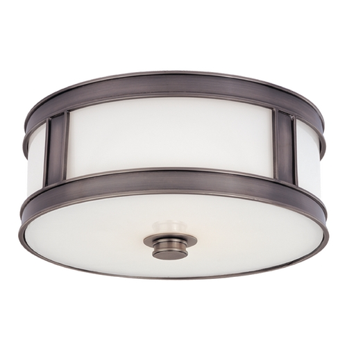 Hudson Valley Lighting Flushmount Light with White Glass in Historic Nickel Finish 5516-HN