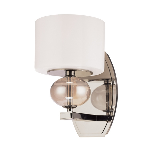 Troy Lighting Modern Sconce Wall Light with White Glass in Polished Nickel Finish B2851PN