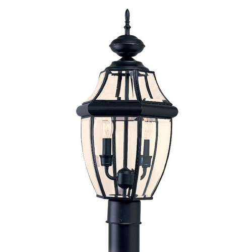 Sea Gull Lighting Post Light with Clear Glass in Black Finish 8229-12
