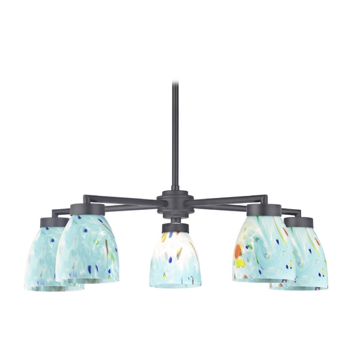 Design Classics Lighting Black Chandelier with Turquoise Art Glass - Five Lights 590-07 GL1021MB