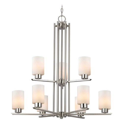 Design Classics Lighting Chandelier with White Glass in Satin Nickel - 9-Lights 1122-1-09 GL1028C
