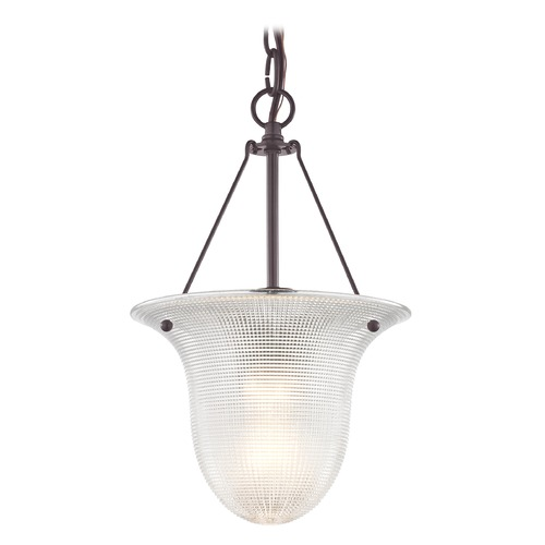 Design Classics Lighting Industrial Foyer Pendant Light with Prismatic Glass in Bronze Finish 1818-30  G1818-FC