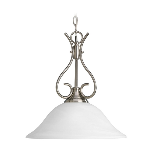 Progress Lighting Progress Pendant Light with Alabaster Glass in Brushed Nickel Finish P5091-09