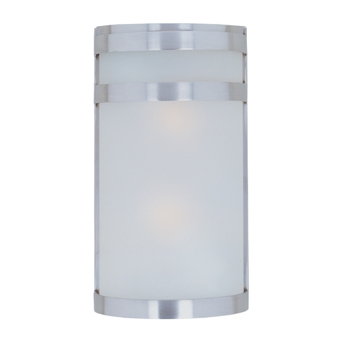Maxim Lighting Modern Outdoor Wall Light with White Glass in Stainless Steel Finish 86006FTSST