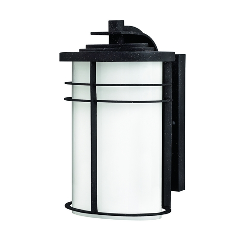 Hinkley Lighting Outdoor Wall Light with White Glass in Vintage Black Finish 1124VK