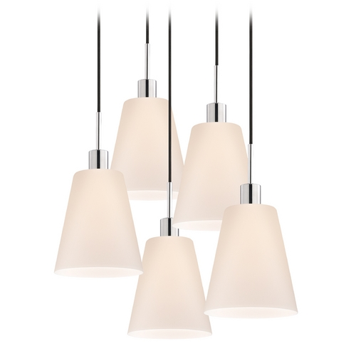 Sonneman Lighting Modern Multi-Light Pendant Light with White Glass and 5-Lights 3562.01K-5