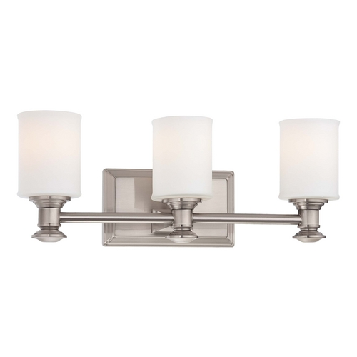 Minka Lighting Bathroom Light with White Glass in Brushed Nickel Finish 5173-84