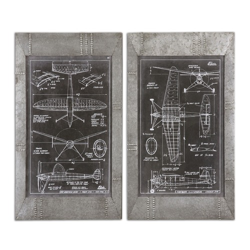 Uttermost Lighting Uttermost Aeronautic Blueprints, Set of 2 51095