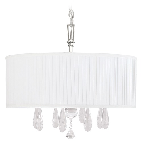 Capital Lighting Capital Lighting Alisa Polished Nickel Pendant Light with Drum Shade 4488PN-574-CR