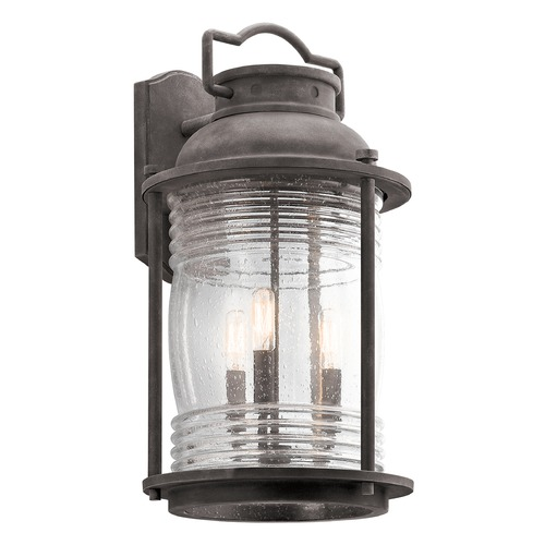 Kichler Lighting Seeded Glass Outdoor Wall Light Zinc Kichler Lighting 49668WZC