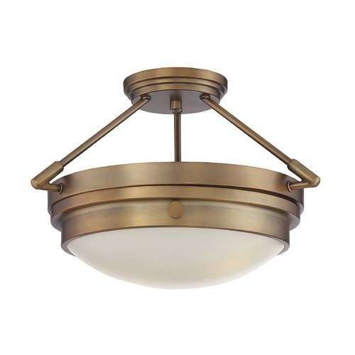 Savoy House Savoy House Lighting Lucerne Warm Brass Semi-Flushmount Light 6-3352-2-322