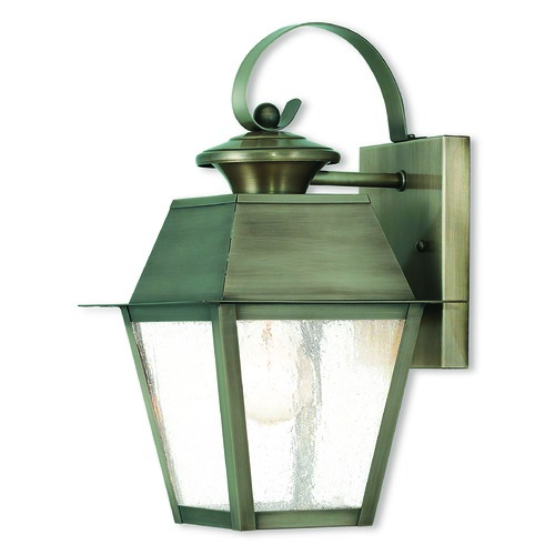 Livex Lighting Seeded Glass Outdoor Wall Light Pewter Livex Lighting 2162-29