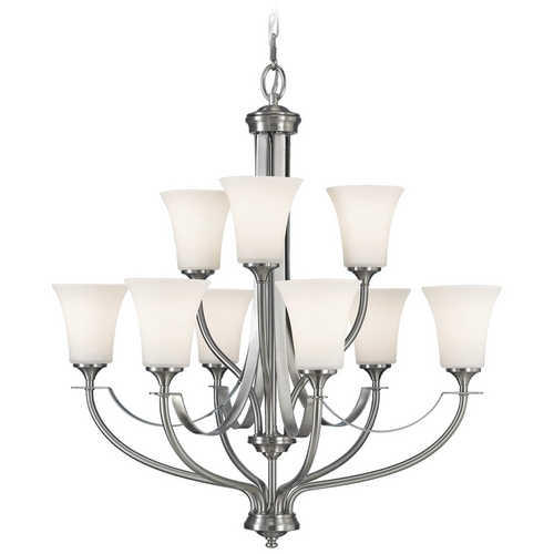 Sea Gull Lighting Modern Chandelier with White Glass in Brushed Steel Finish F2253/6+3BS