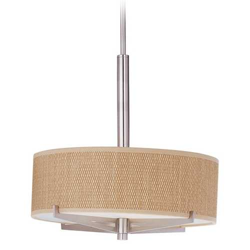 ET2 Lighting Modern Pendant Light with Brown Shades in Satin Nickel Finish E95305-101SN