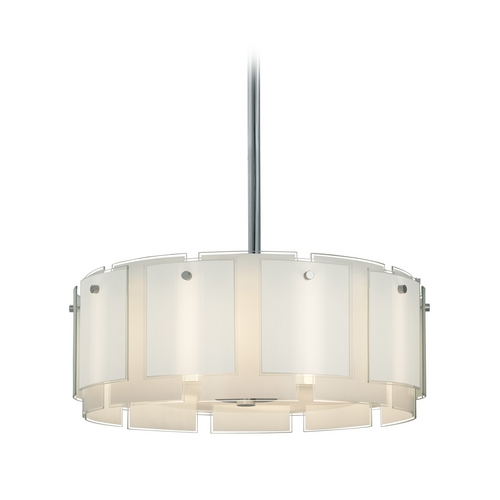 Sonneman Lighting Drum Pendant Light with White Glass in Polished Chrome Finish 3186.01