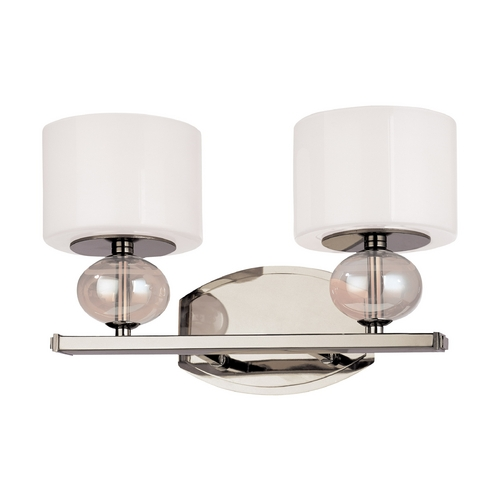 Troy Lighting Modern Bathroom Light with White Glass in Polished Nickel Finish B2852PN
