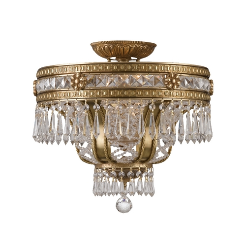 Crystorama Lighting Crystal Semi-Flushmount Light in Aged Brass Finish 5153-AG-CL-MWP