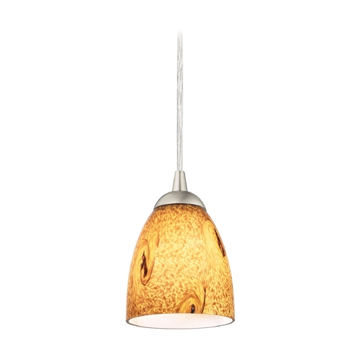 Design Classics Lighting Modern Mini-Pendant Light with Brown Art Glass 582-09 GL1001MB