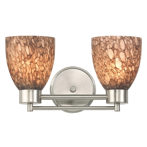 Design Classics Lighting Modern Bathroom Light with Brown Art Glass in Satin Nickel Finish 702-09 GL1016MB