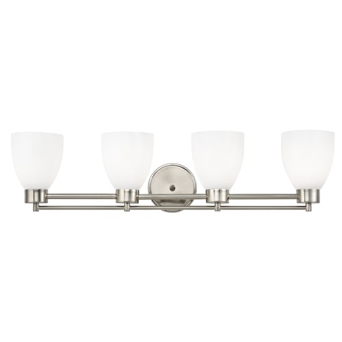 Design Classics Lighting Modern Bathroom Light with White Glass in Satin Nickel Finish 704-09 GL1024MB