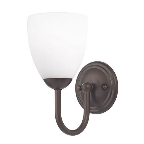 Design Classics Lighting Sconce with White Glass in Bronze Finish 593-220 GL1028MB