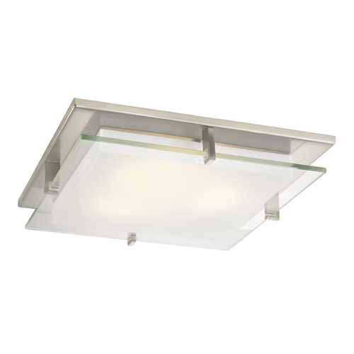 Recesso Lighting by Dolan Designs Modern Satin Nickel Square Decorative Recessed Lighting Ceiling Trim 10471-09