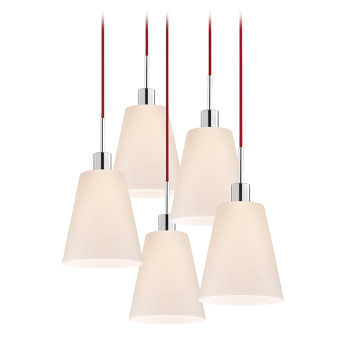Sonneman Lighting Modern Multi-Light Pendant Light with White Glass and 5-Lights 3562.01R-5