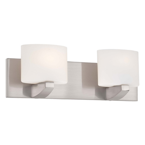 Minka Lavery Modern Bathroom Light with White Glass in Brushed Nickel Finish 5242-84