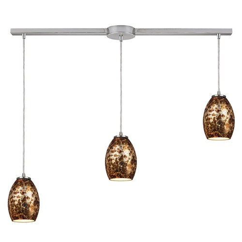 Elk Lighting Elk Lighting Venture Satin Nickel Multi-Light Pendant with Bowl / Dome Shade 10255/3L