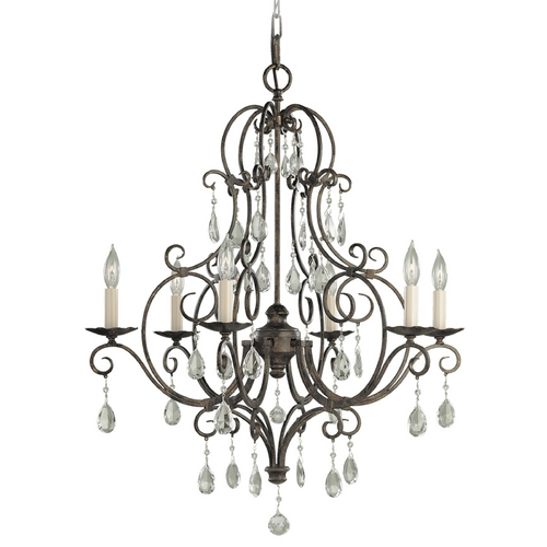 Feiss Lighting Crystal Chandelier in Mocha Bronze Finish F1902/6MBZ