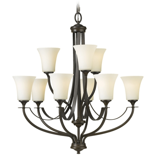 Sea Gull Lighting Chandelier with White Glass in Oil Rubbed Bronze Finish F2253/6+3ORB