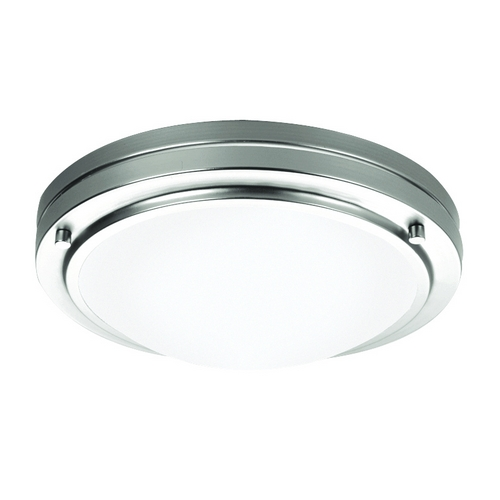 Philips Lighting Modern Flushmount Light with White Glass in Satin Nickel Finish F245036U
